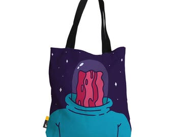 "Artist Designed Tote Bag - 18"" Inch Purple Beach Bag | Professor Bacon by Bigshot Robot |  UBU Republic"