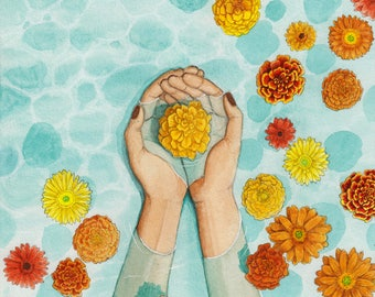 "Catch and Release Fine Art Giclee Print of Watercolor Painting, 8"" x 10"", Ready to Frame, Illustration Hands Catching Floating Flowers Daisy"