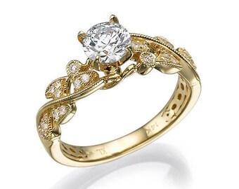 Forever one moissanite engagement ring, Yellow Gold Ring, Antique Ring, Vintage ring, Alternative ring, Art deco Ring, 14k Gold Ring