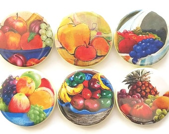 Magnets, Bowls of Fruits, Country Home Decor, Fridge Magnets, Farmhouse Decor, Kitchen Magnets, Fruit Magnets, Refrigerator Magnets, 6/Set