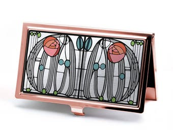 Rose Gold Charles Rennie Mackintosh Rose Business Card Holder - Art Nouveau Card Wallet - Business Card Case - ID Holder - Office Accessory