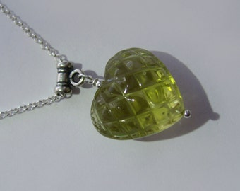 Natural Lemon Quartz 3D Carved Heart In Sterling Silver Pendant, 18.75ct. Chain Included.