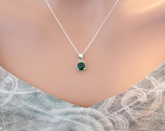 Sterling Silver May Birthstone Charm Necklace, Green May Birthstone Necklace, May Birthday Necklace, Green Birthstone Necklace, Birthstone
