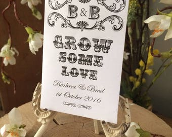 """Wedding Favour Seed Packets x 20 - """"Grow Some Love"""""""