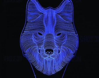 WOLF 3d illusion acrylic lamp vector file LED light. For laser cutting and engraving