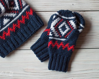 PATTERN SET: Crochet Neva Hat and Mitten Set pdf DOWNLOAD