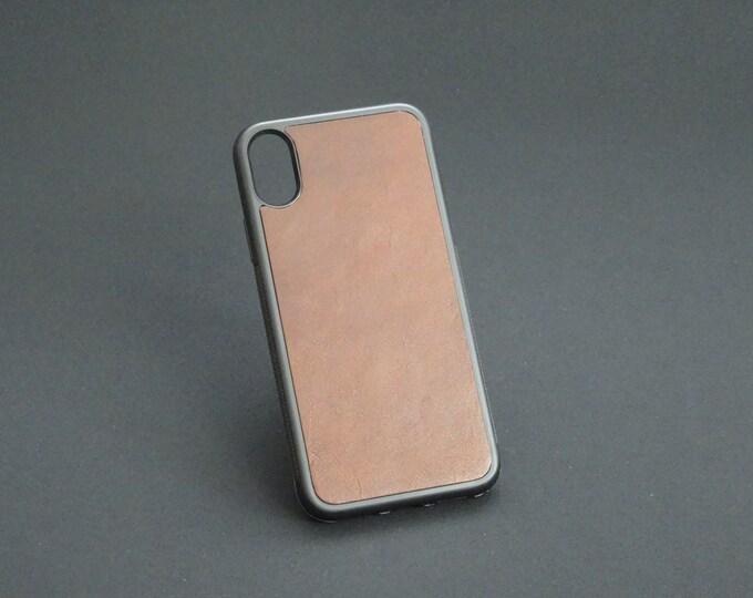 Apple iPhone X 10 - Jimmy Case - Genuine Kangaroo Leather Handmade iPhone Protective Rubber Phone Case - Brandy Tan