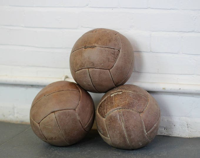 Czech Leather Medicine Balls Circa 1930s