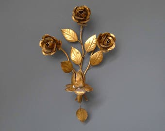 Vintage Floral motif Wall Sconce Candlestick Holder with Golden Roses Details