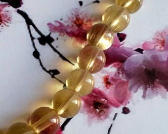 Set of 50 yellow and transparent beads, 12mm
