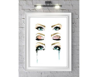 Soul Seeing, Print from Original Watercolor Painting, eye illustration