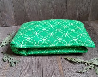 Unscented Neck Pillow All Natural Flax Seed Herbal Hot Cold Therapy Wrap Microwave Heating Pad Wrap Green Medallion Geometric Free Shipping