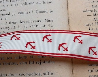 Ribbon 2.5 cm white and Red pattern anchor marine Foundation