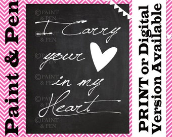Love Printable- I Carry Your Heart in My Heart- You Have My Heart- Lovers Black & White- Mother and Child Print- Nursery Art- Shower Gift
