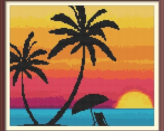 Hawaii Sunset Counted Cross Stitch Pattern PDF Chart Instant Download Bright Colorful Beach Scene in Turquoise, Orange