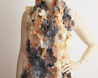 Crochet scarf , long scarf ,woman scarf,gift,colorful scarf ,earth tones