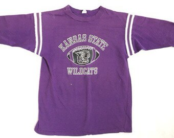 90s Vintage Kansas State Wildcats Jersey - 80s Vintage Kansas State Football 3/4 Sleeve Jersey T-Shirt