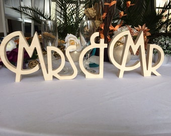 Gatsby style, Art deco wedding signs Mr. & Mrs. , wooden letters wedding table decoration, freestanding Mr and Mrs signs sweetheart table