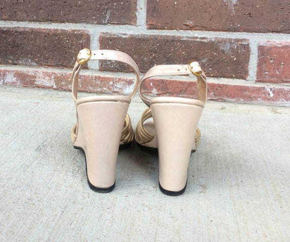 shoes NUDE retro 70s leather mod 5 strappy toe SANDALS vtg peep WEDGE boho beige 5 Italian disco pumps heels qOZq5H