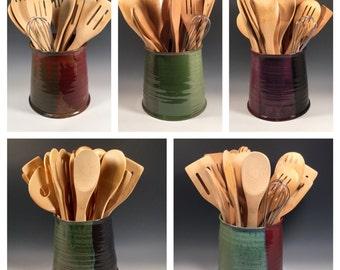 Made to Order Pottery Jar - Kitchen Utensil Holder - Wine Chiller  - wedding registry - Choose your Color -Ceramics -Pottery - Stoneware