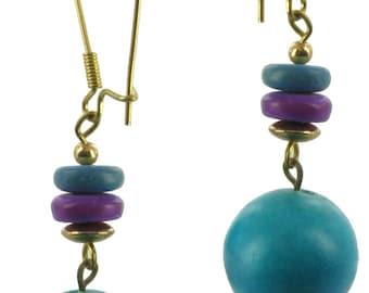 1980s Purple Blue Dangle Bead Pierced Earrings Vintage