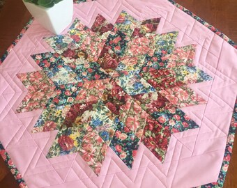 Center piece, tabletopper, handmade table topper with flower fabric