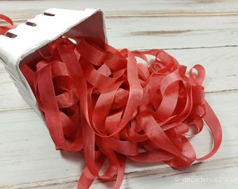 5 yards Melon Pink Seam Binding. Packaging, Scrapbooking, Shabby Pretty Embellishment