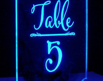Romance Table Number ---  Lighted Number - Glow - Illuminated  - engraved acrylic
