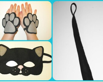 Cat mask tail cuffs set Black handmade felt costume for boys girls soft dress up play animal party accessory photo props Theatre roleplay