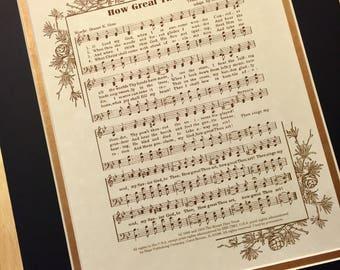 HOW GREAT THOU Art Christian Home or Office Decor Black & Gold Matted Hymn Wall Art Vintage Verses Sheet Music Wall Art Inspirational Music
