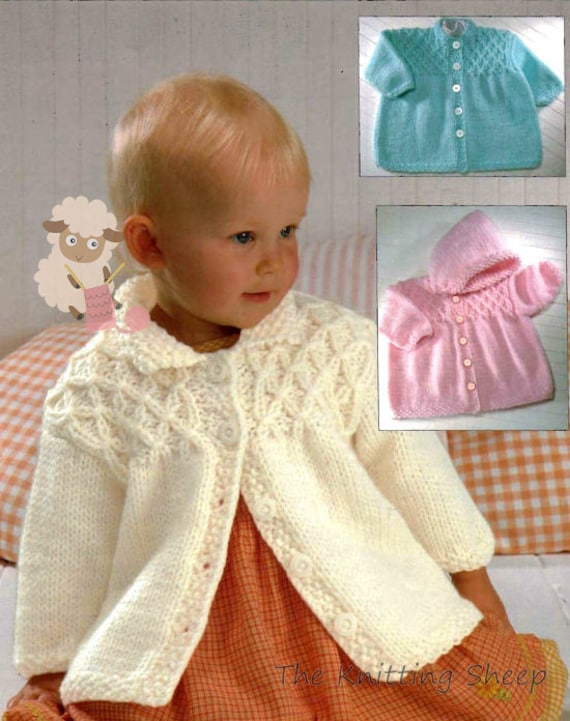 Pdf Knitting Pattern For A Baby Girls Aran Smocked Jacket Instant