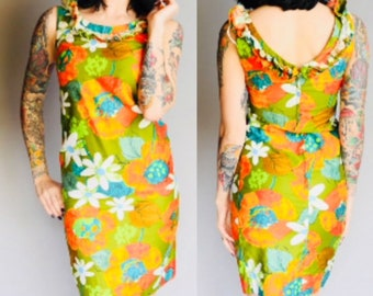 1960's Kay O Kauai of Hawaii Floral Sundress XS