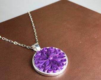 Purple Pendant - Paper Quilling/Filigree