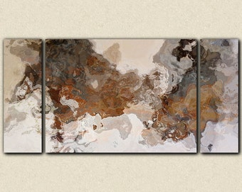 "Oversize triptych abstract art 30x60 to 40x78 stretched canvas print,in earthy brown and grey, from abstract painting ""Ball and Chain"""