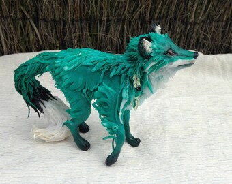 OOAK Fox Kitsune Totem Emerald