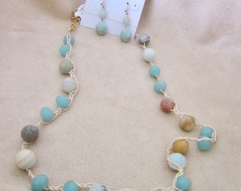 Amazonite Hand Knotted Necklace & Earring Set