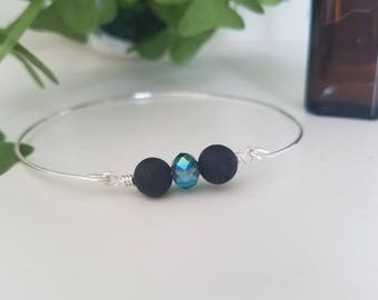 Aromatherapy Essential Oil Diffuser Bangle Bracelet Silver Black and Teal