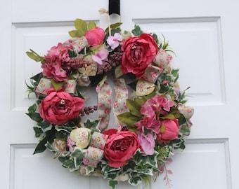 Shabby Chic Vintage Peony Door Wreath