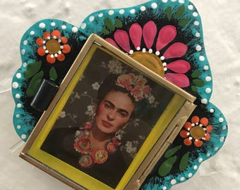 Frida Kahlo Nicho (small) hand painted mexican art frame hojalata tin nicho tin art metal frame mexican decoration wall art frida alter