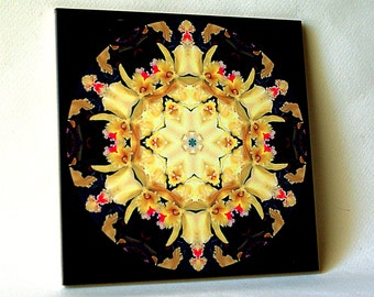 Orchid mandala ceramic tile, golden-yellow toned floral trivet, Potinara orchid, all occasion gift for gardener, decorated wall tile T743