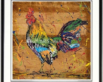 Rooster wall art, Chicken wall art, Rooster wall art, Chicken print, Bird wall art, Kitchen wall art, farm animal wall art, by Johno Prascak