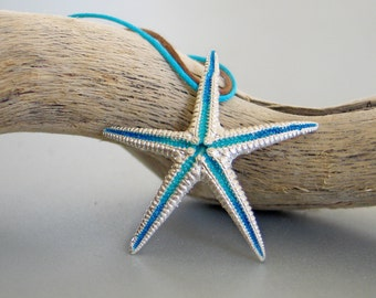 Big Turquoise Starfish Sterling Silver Pendant