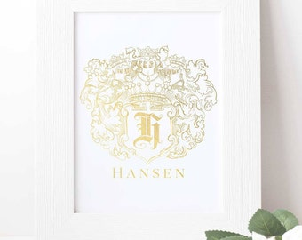 Custom Coat of Arms Foil Print - Family Crest Art Print - Vector art or Black and White Family Crest Artwork on paper with gold foil