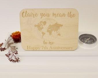 Wedding Anniversary Card - Personalised Anniversary Wooden Postcard - Anniversary Keepsake Card - Wooden Keepsake Card
