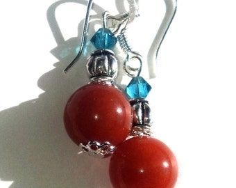 Red and Blue Earrings Swarovski Beaded Dangle Earrings Red Aventurine Gemstones Cyber Monday Sale
