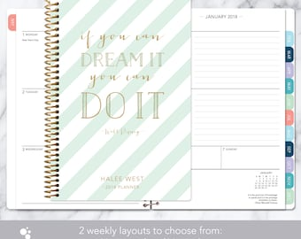2018 planner | 2018-2019 calendar | weekly student planner add monthly tabs | personalized planner agenda daytimer | mint gold stripes quote