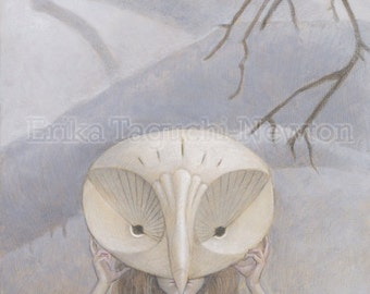 "Owl Mask Art, Owl Painting, Forest Animal Art Print, ""We Hide in the Forest"""