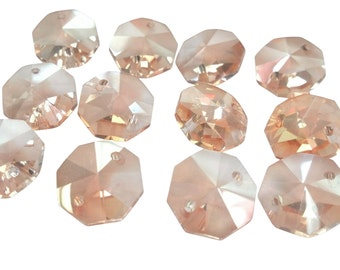 12 Light Champagne 14mm Octagon Chandelier Crystals Beads