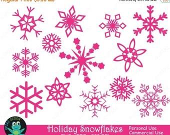 75% OFF SALE Pink Snowflakes Clipart - UZ710