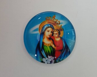 Beautiful Round Glass Cabochon Our Lady Virgin Mary and Baby Jesus Needle Minder / Needle Nanny